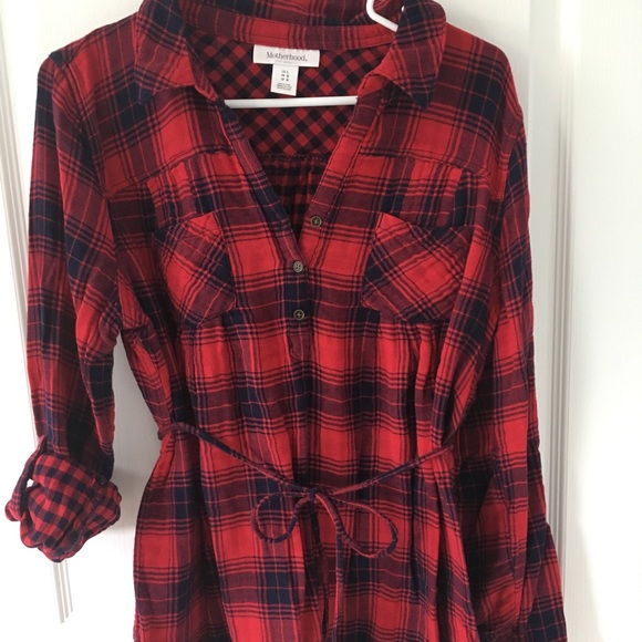 Motherhood Maternity Sweaters - Red and navy plaid motherhood maternity sweater